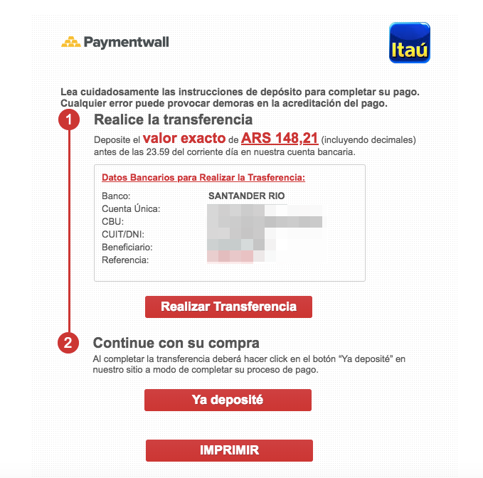 Bank Transfer Argentina checkout