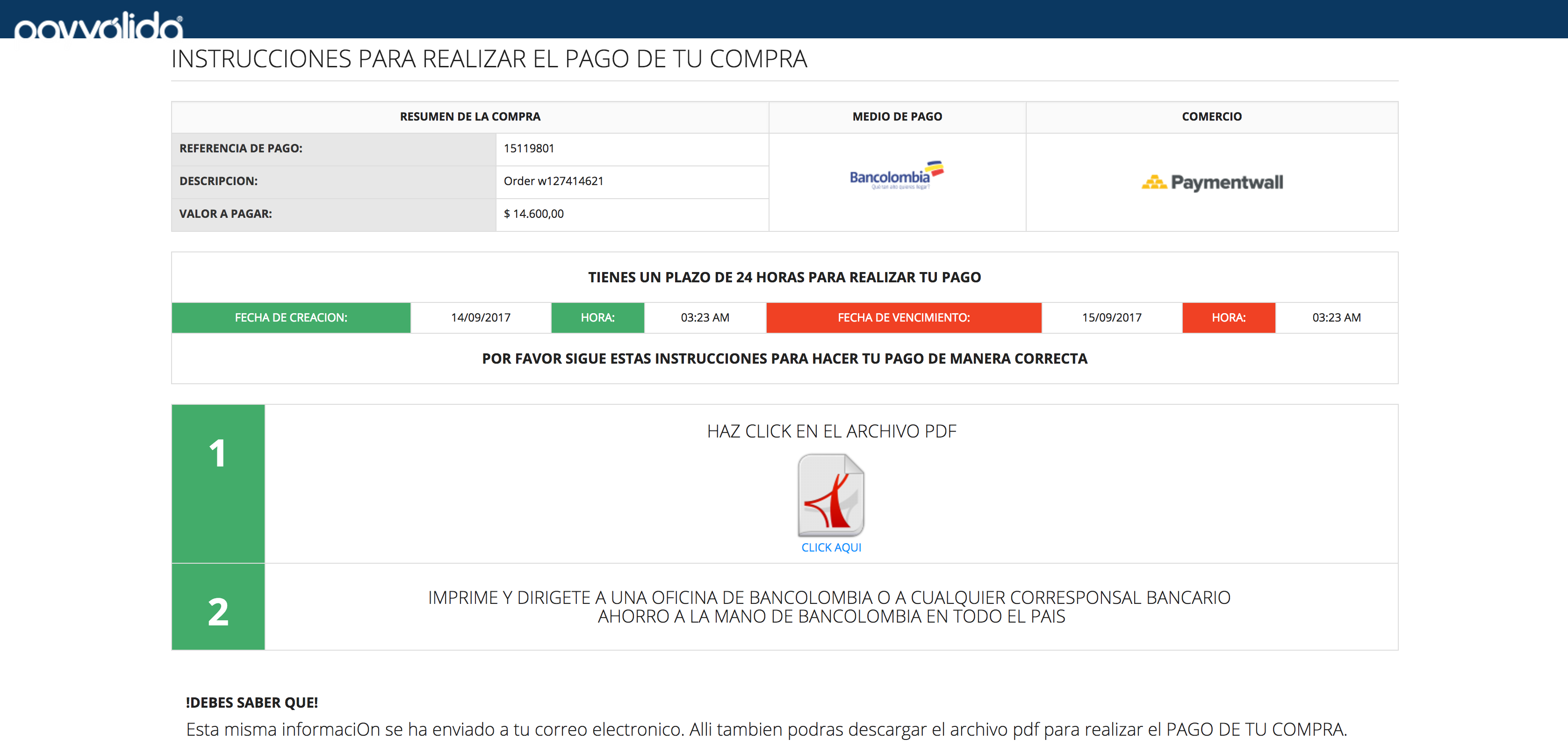 Bank Transfer Colombia checkout
