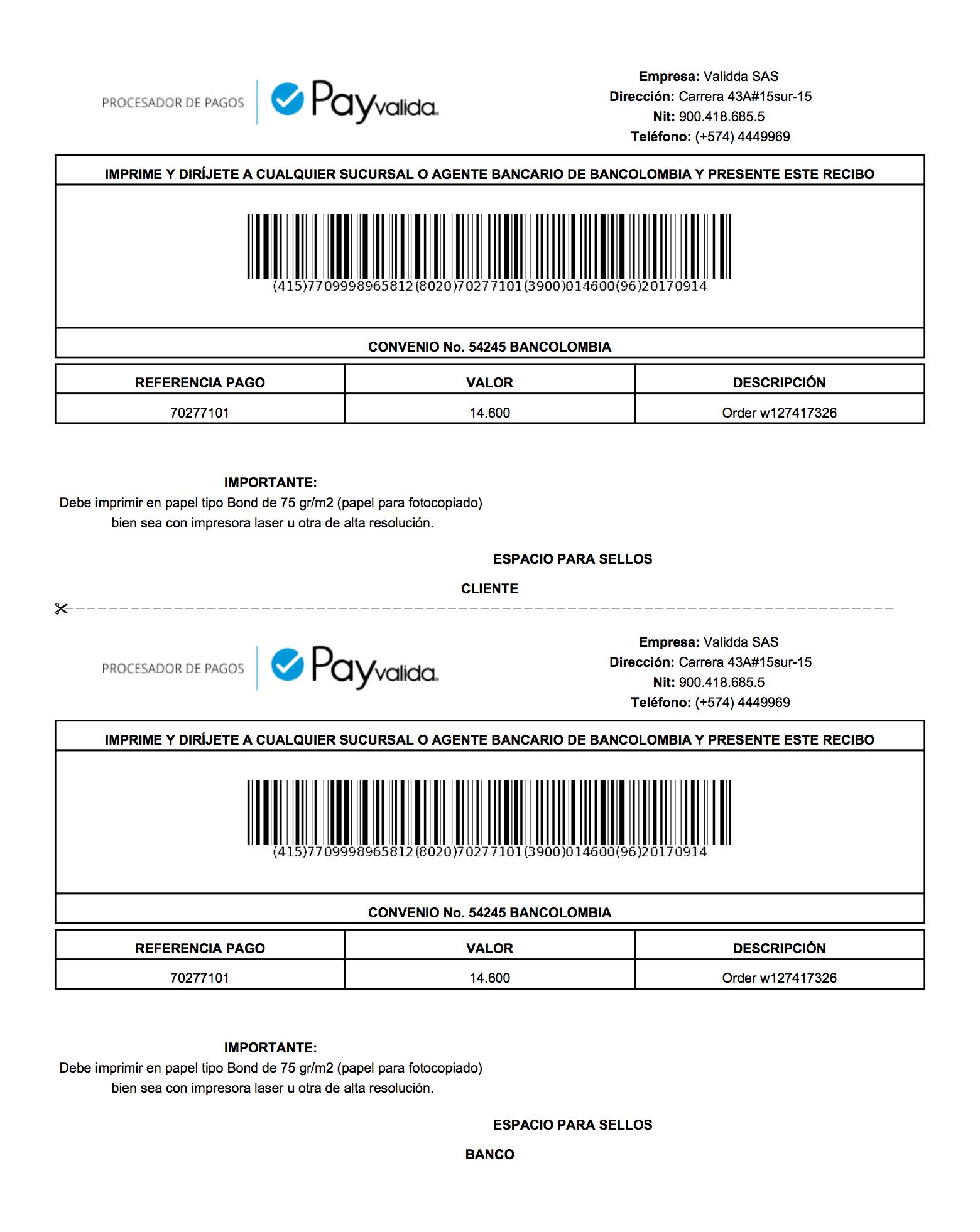Bank Transfer Colombia invoice