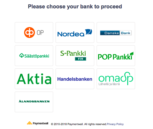 Bank Transfer Finland select