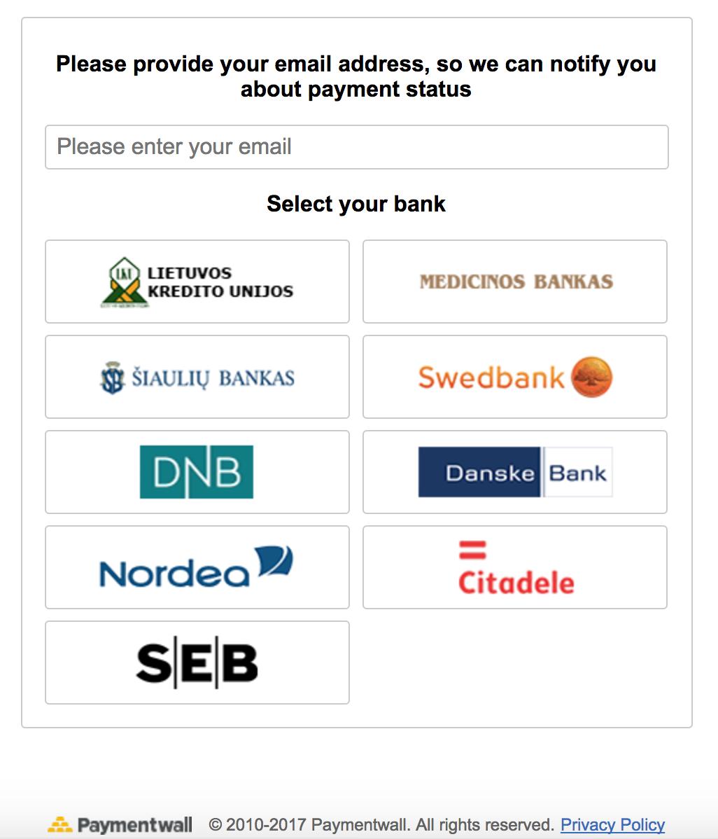 Bank Transfer Lithuania select screen