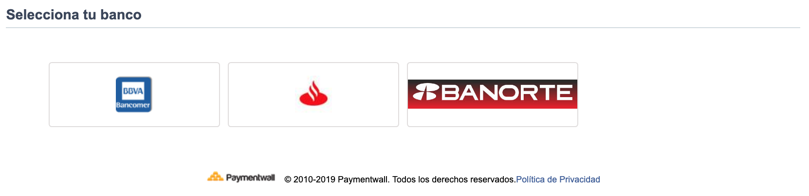 Bank Transfer Mexico select