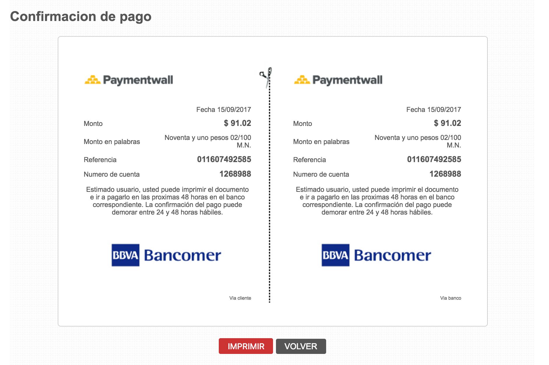 Bank Transfer Mexico invoice