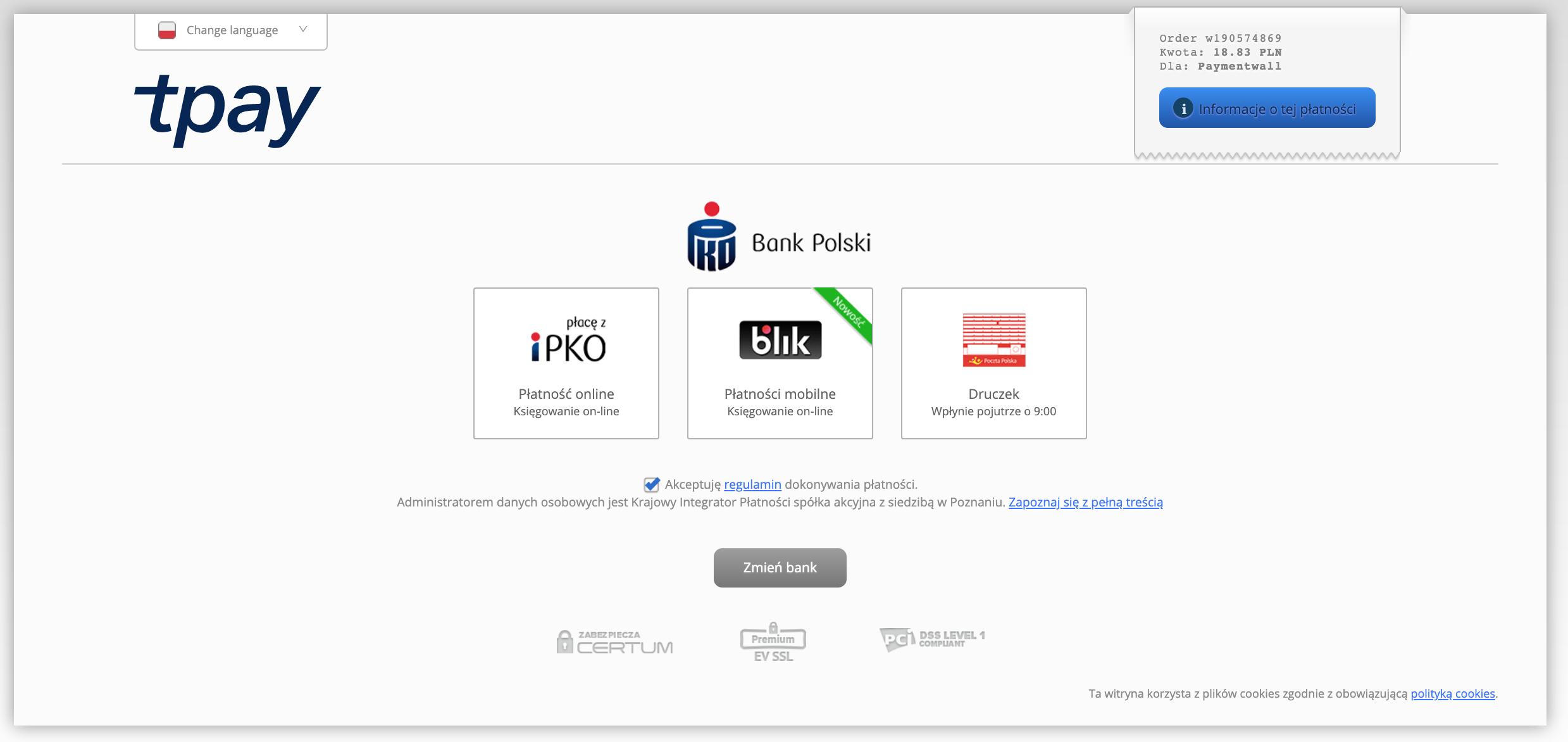 Bank Transfer Poland redirect