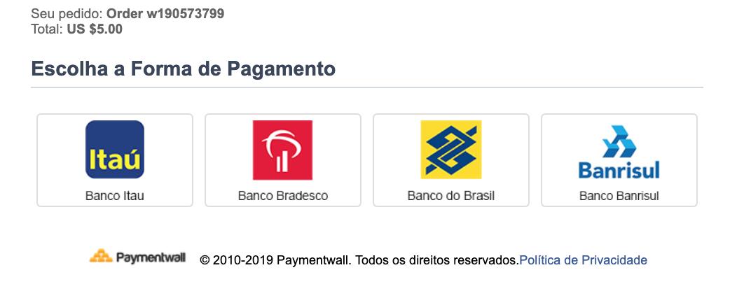 Bank Transfer Brazil select
