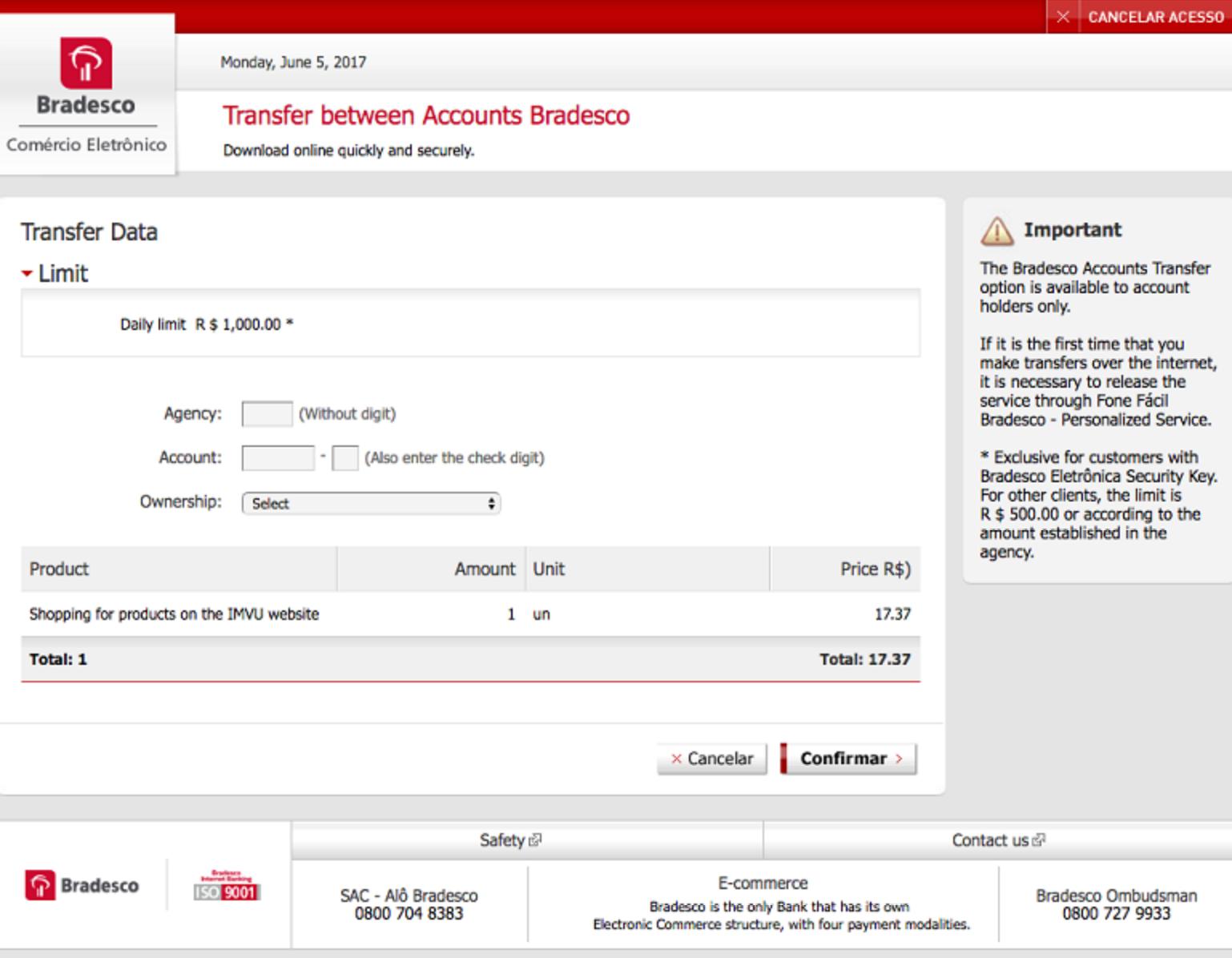 Bank Transfer Brazil checkout