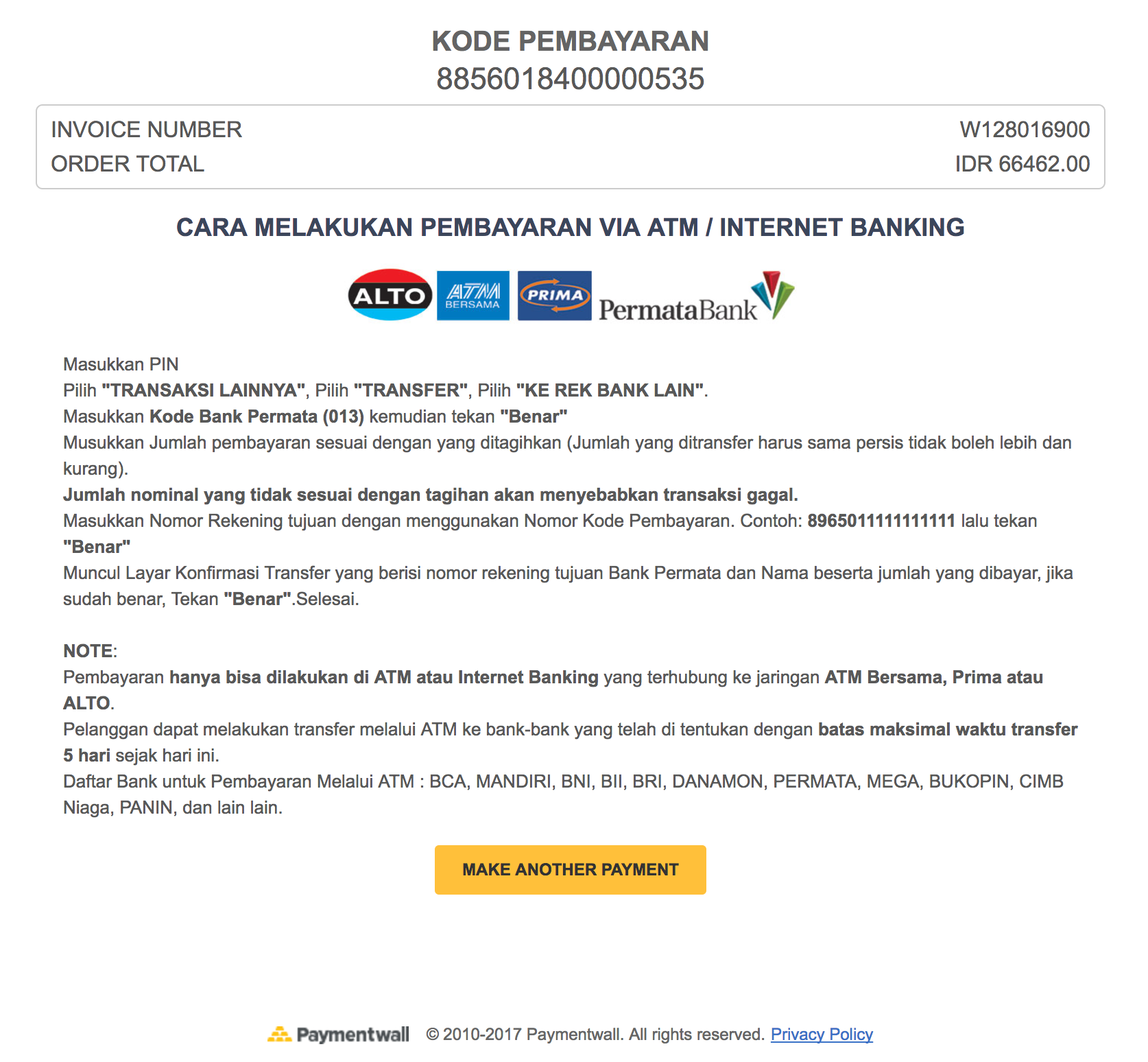 ATM Transfer Indonesia invoice