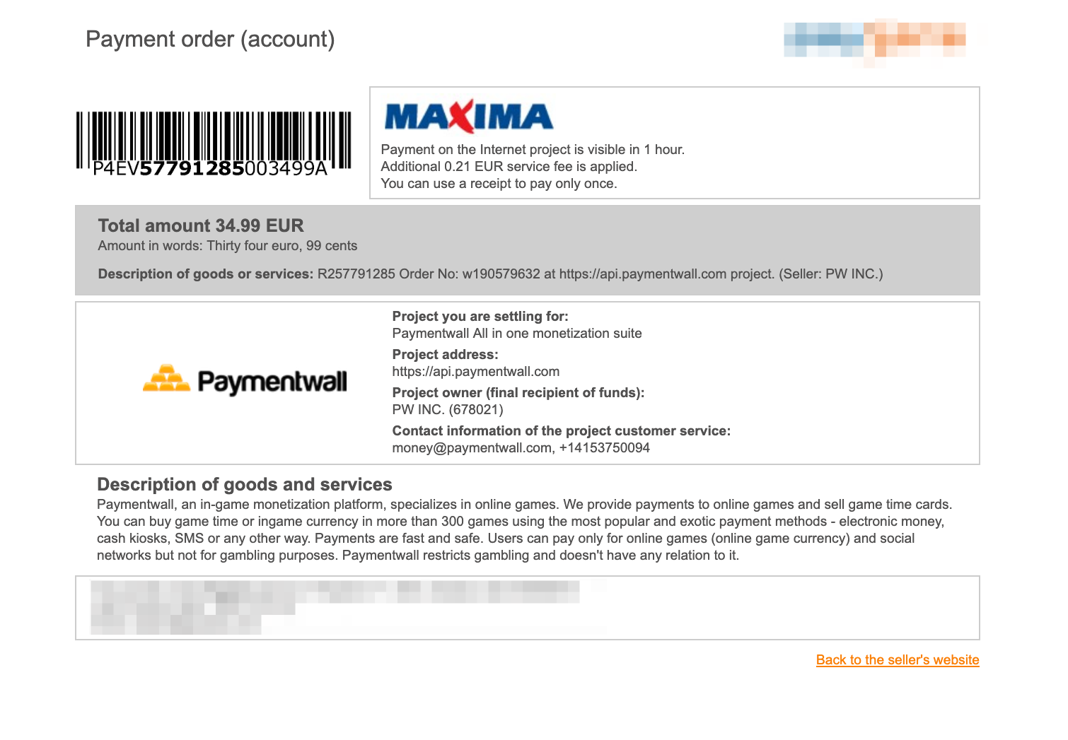 Maxima checkout