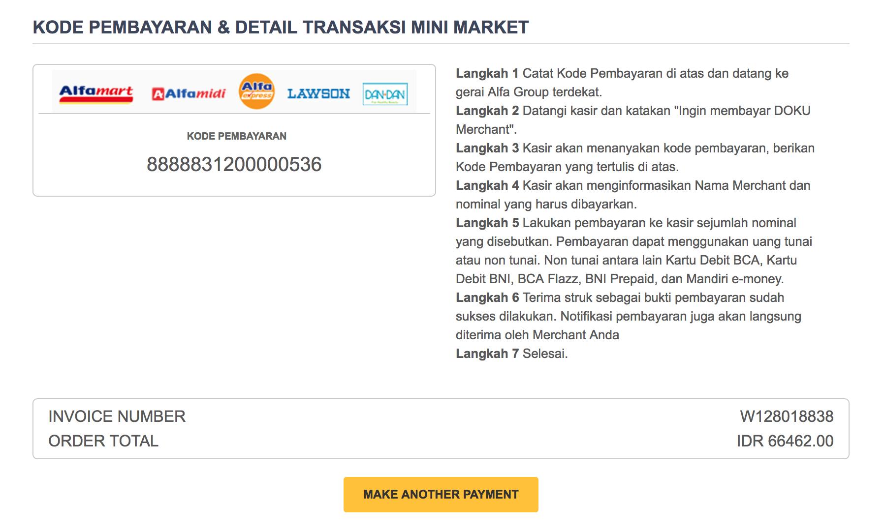 Minimart invoice