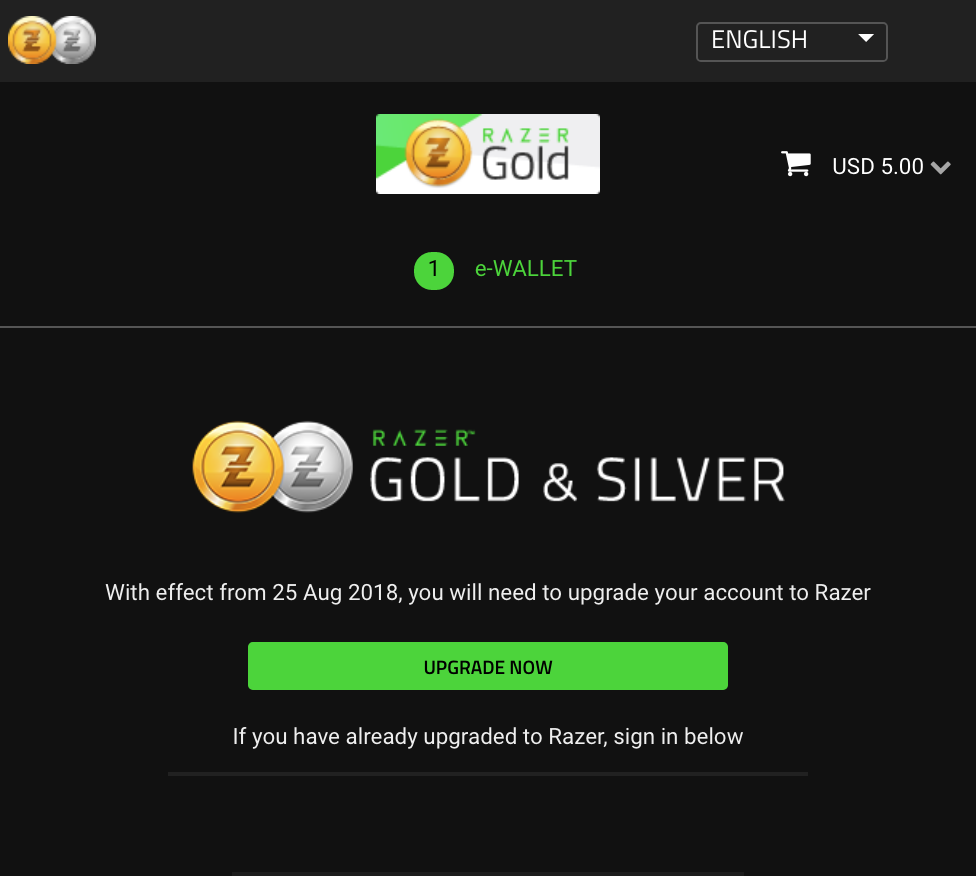 Razer Gold select screen