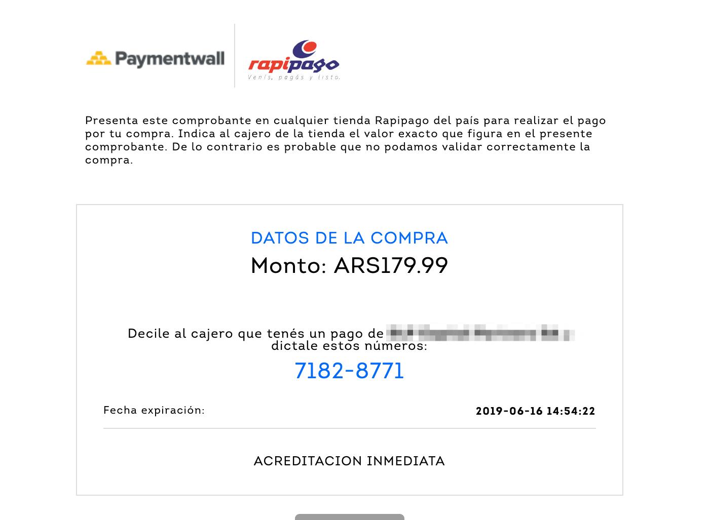 Rapipago invoice