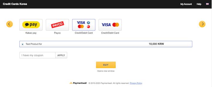 Credit Card for Korea confirmation