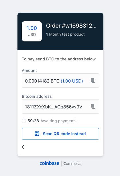 Bitcoin Coinbase checkout