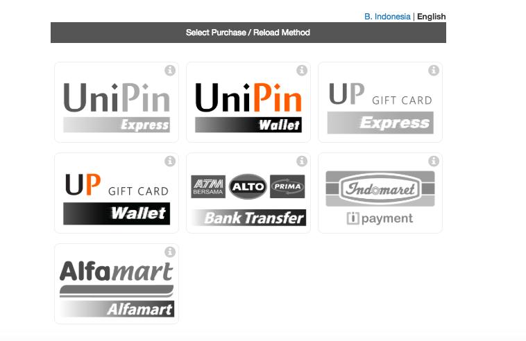 UniPin Wallet select