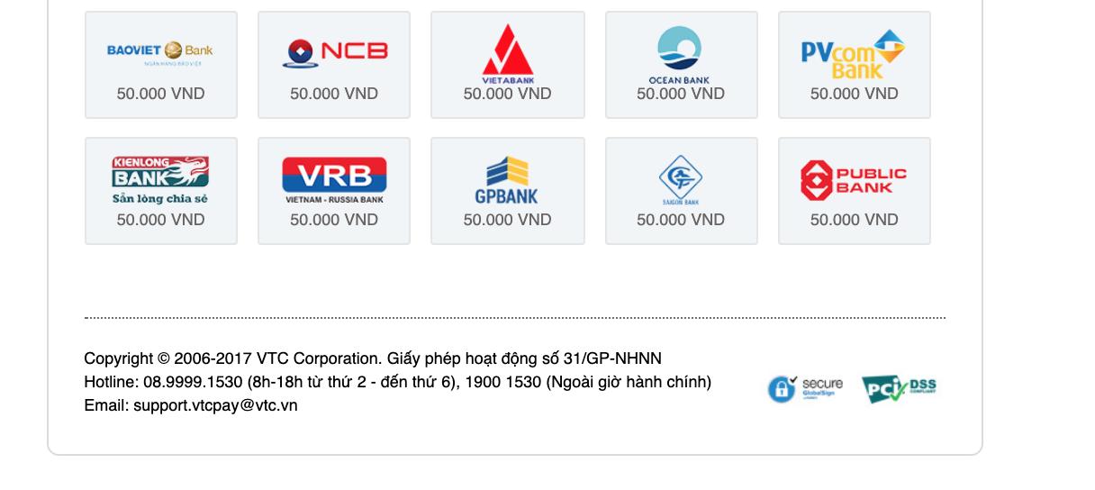 VTC Pay checkout 2