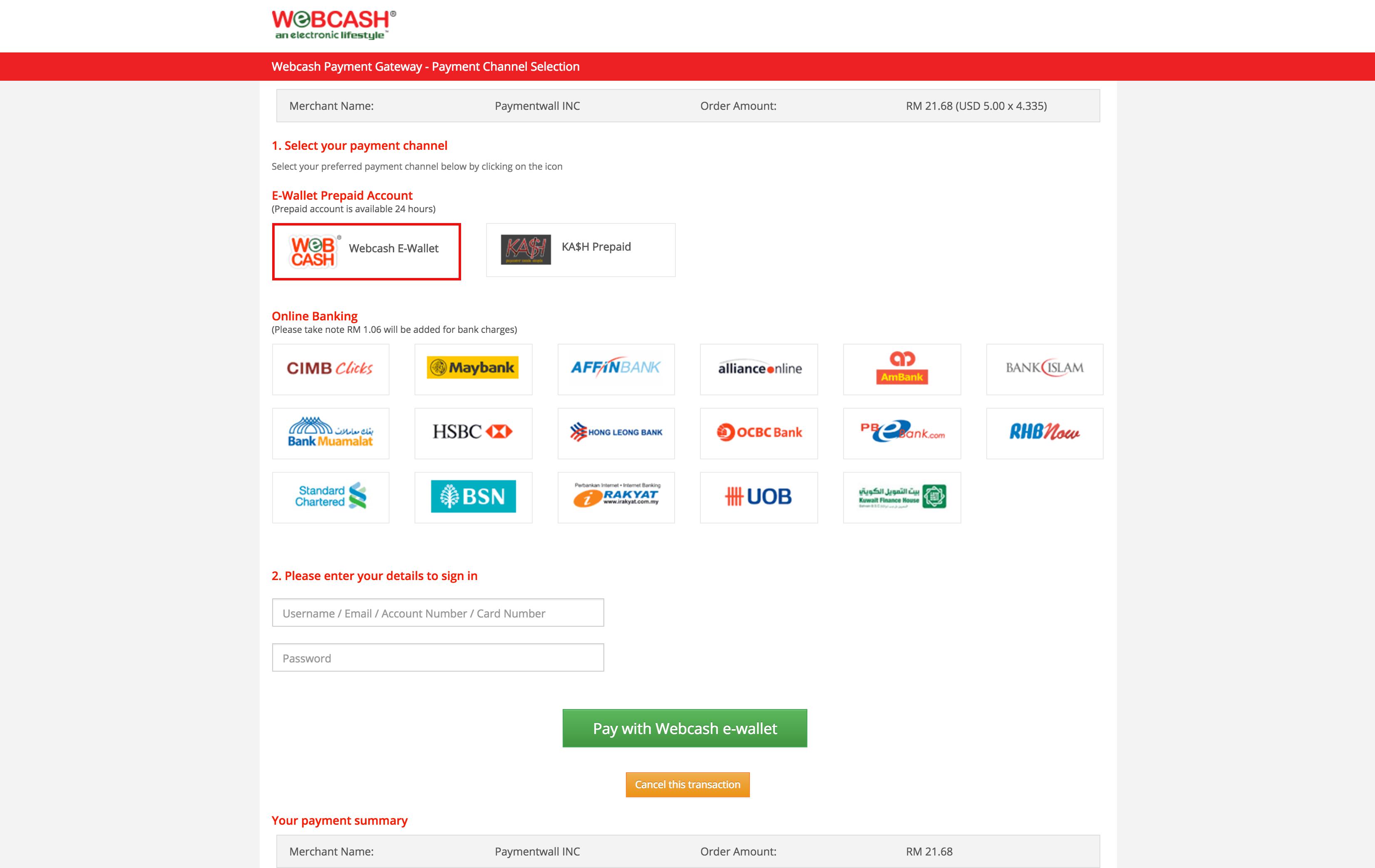 Webcash checkout
