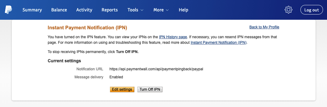 PayPal IPN current settings