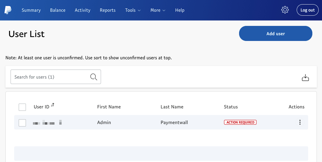 PayPal manage user - subaccount