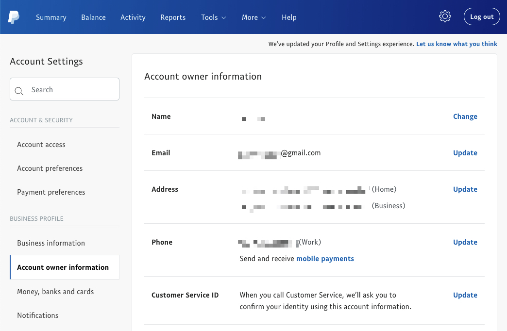 PayPal profile - biz information email