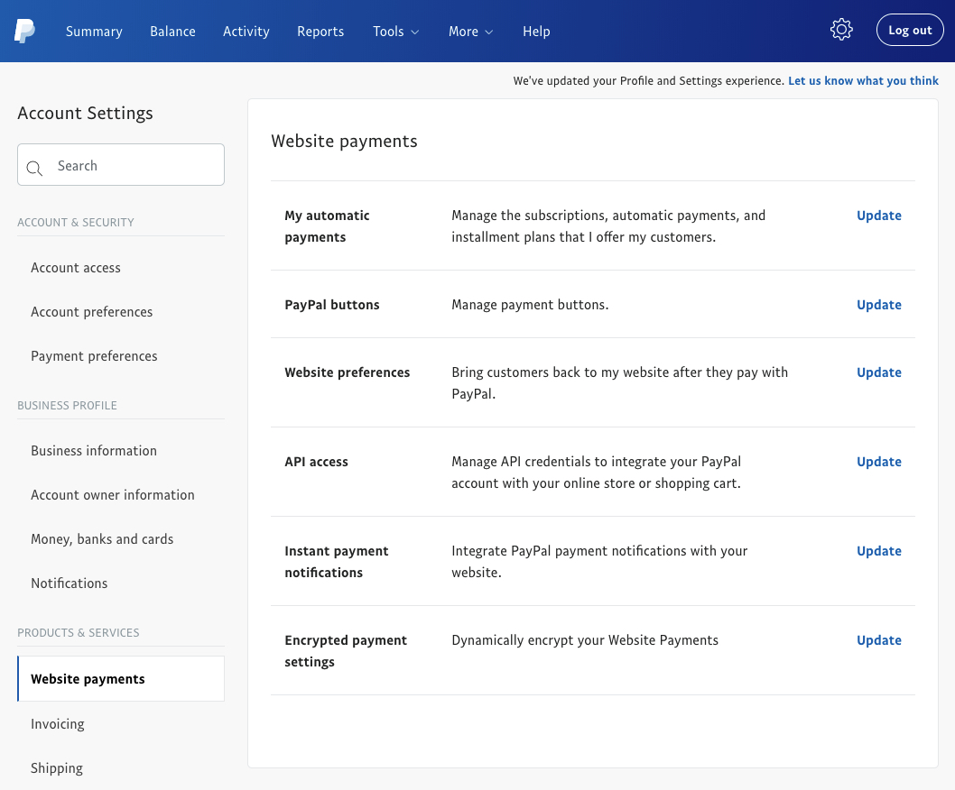 PayPal profile selling tools - website preference
